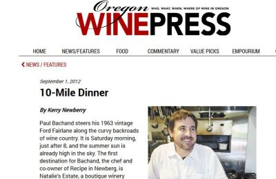 Ten-Mile Dinner: Chef, winemaker and nearby farmers go the distance for a fresh-picked feast
