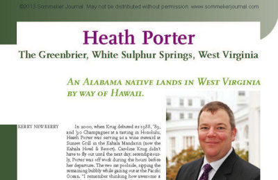 Sommelier Spotlight: Heath Porter, The Greenbrier, White Sulphur Springs, West Virginia