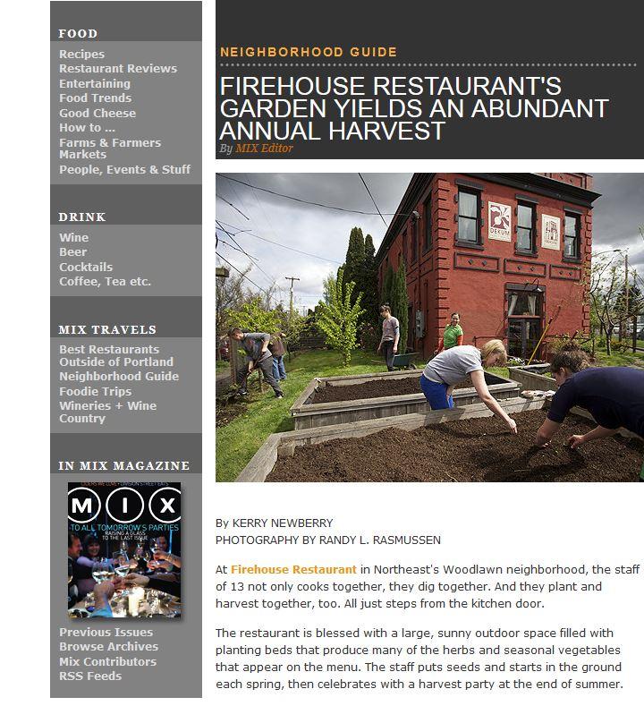 Firehouse Restaurant's Garden Yields an Abundant Annual Harvest