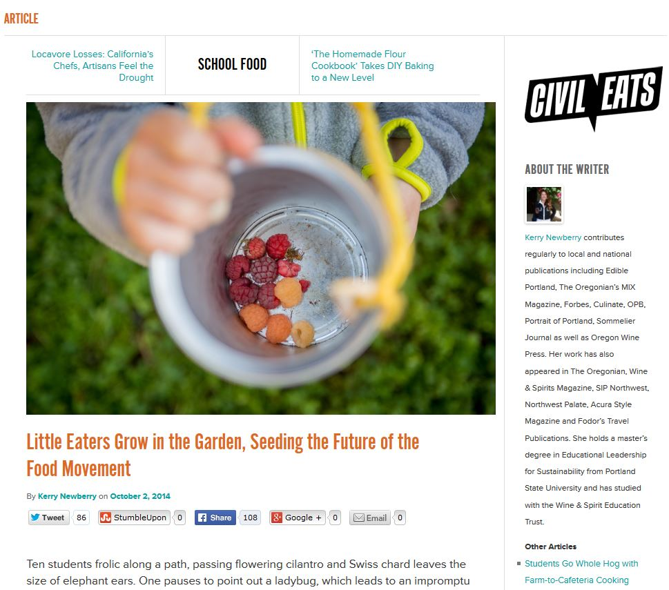 A New Day: The littlest eaters grow in the garden, seeding the future of the food movement