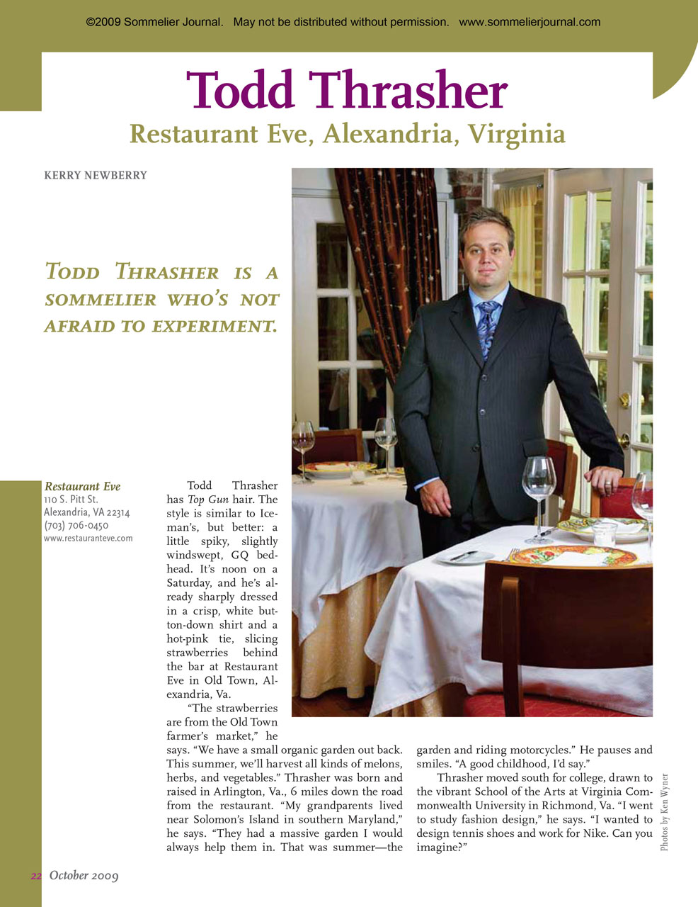 Sommelier Spotlight: Todd Thrasher, Restaurant Eve, Alexandria, Virginia